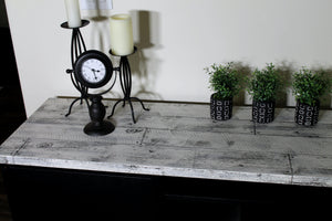 Using IOD Barnwood Planks stamp set on furniture (painted with Fusion Mineral Paint!)