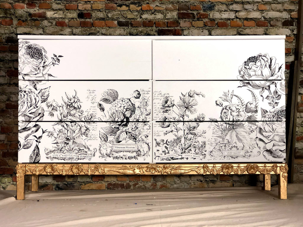 IOD Ikea Tarva Dresser Makerover with IOD Classic Bouquets Paintable Decor Transfer, Catalogue of Roses Paintable Decor Transfer, and Classic Elements and Sea Sisters Moulds