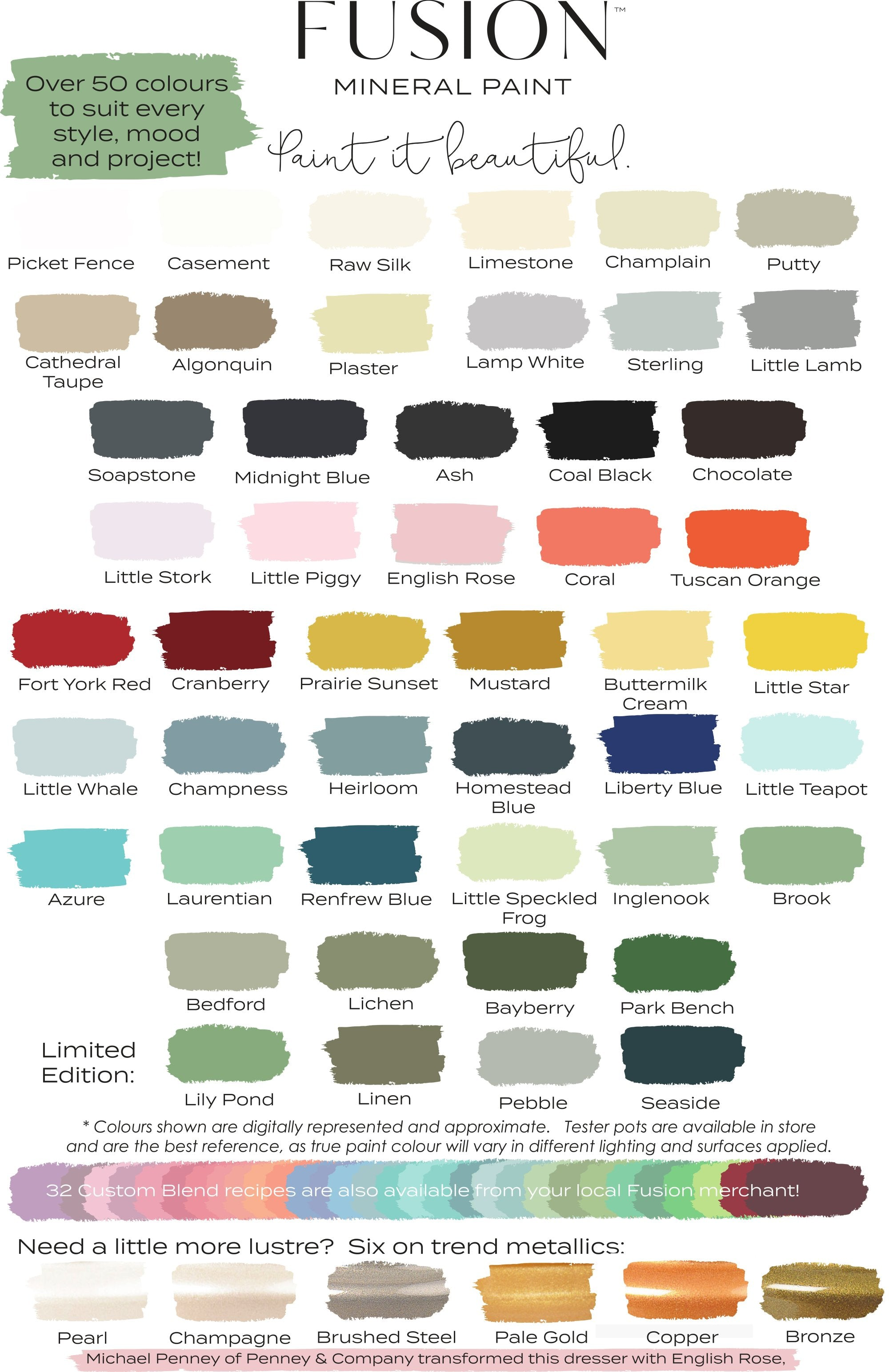 Fusion Mineral Paint Color Chart @ The Painted Heirloom