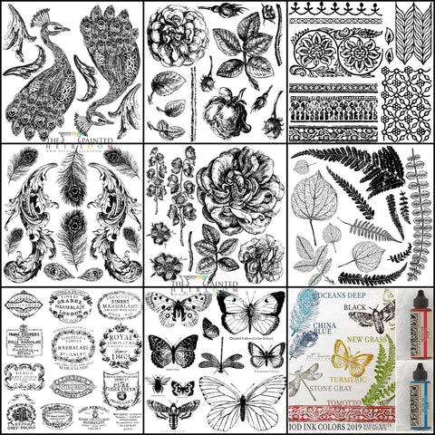 New IOD Release Fall 2019 Pavo Fronds Crockery Butterlies Bohemia Lady of Shalott Stamps