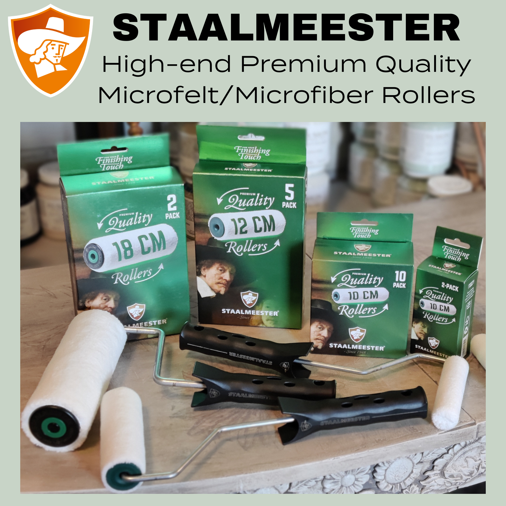 Staalmeester High-end Premium Quality Microfelt and Microfiber Paint Roller