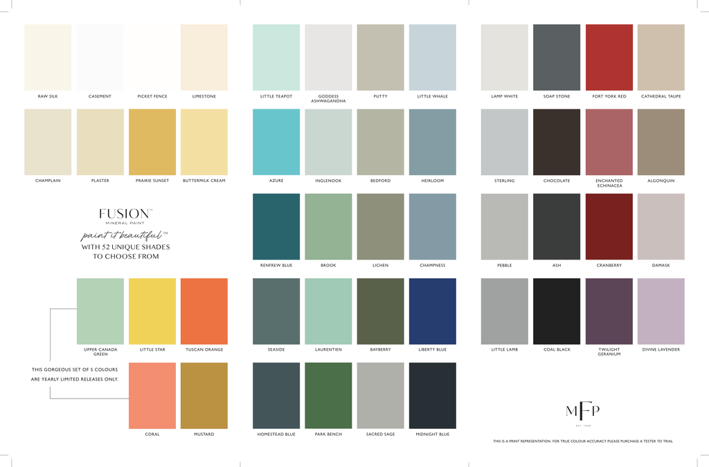 Fusion Mineral Paint Color Card and Brochure 2019 @ The Painted Heirloom