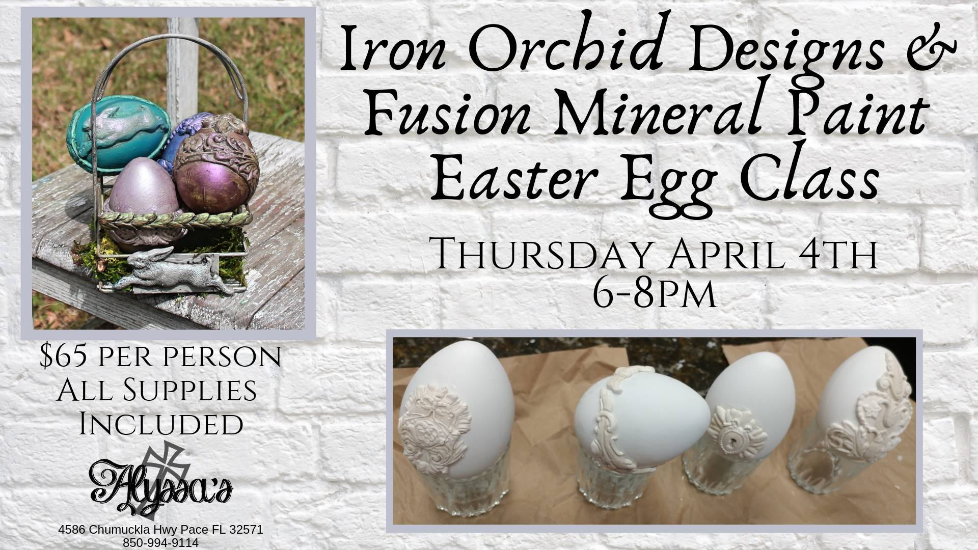Iron Orchid Designs & Fusion Mineral Paint Easter Eggs and Basket Class April 4, 2019 at Alyssa's in Pace FL