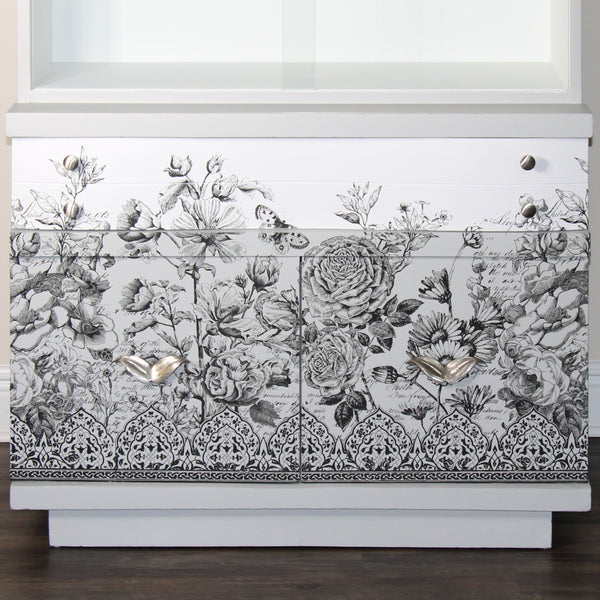 IOD Astoria Foliage, Classic Bouquet, Winter's Song Decor Transfer on Fusion Mineral Painted Cabinet