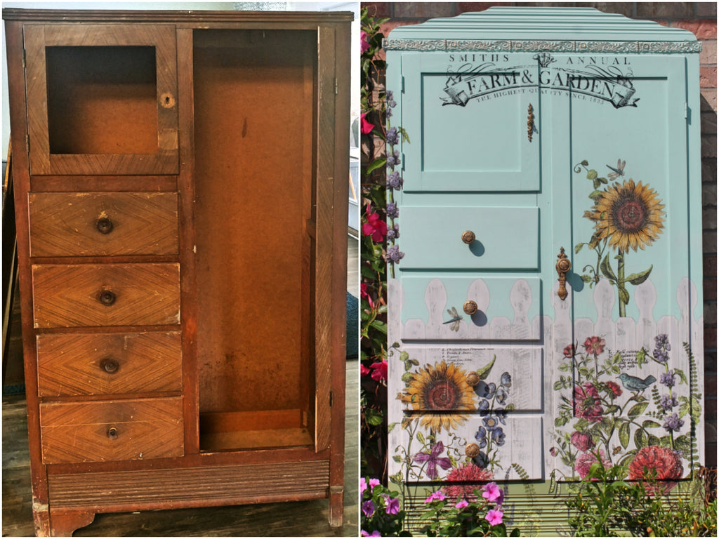 Rescued, Repaired, and Refinished Chifferobe with Fusion Mineral Paint and Iron Orchid Desings