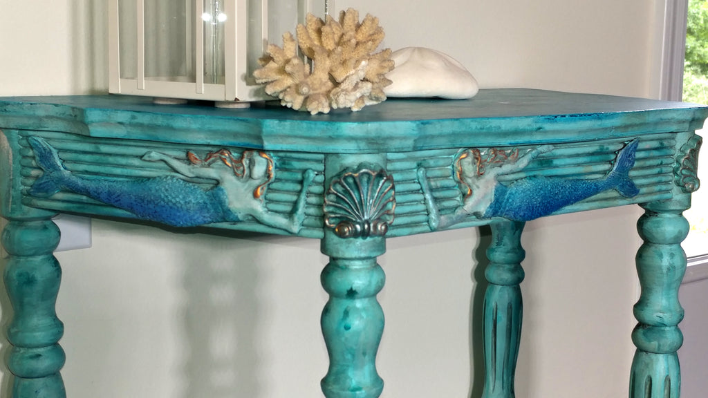 IOD Sea Sisters Classic Elements Decor Mould by Iron Orchid Designs Table with Azure Raw Silk Renfrew Blue Inglenook Art Alchemy Metallique and Opal Magic Wax by Finnabair
