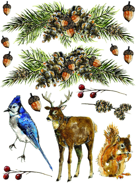 "Woodland Christmas Decor Transfer Set (pad of 8 12""x16"" sheets) by IOD - Iron Orchid Designs"
