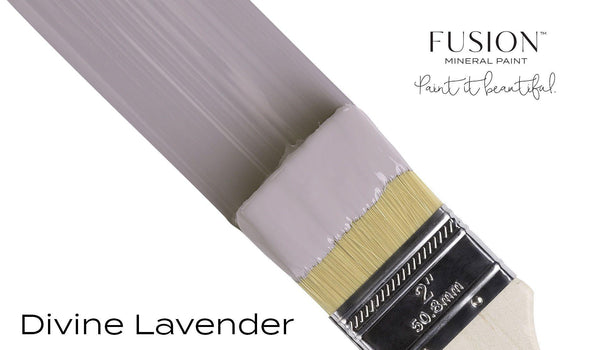 Divine Lavender Fusion Mineral Paint angled brush stroke @ The Painted Heirloom