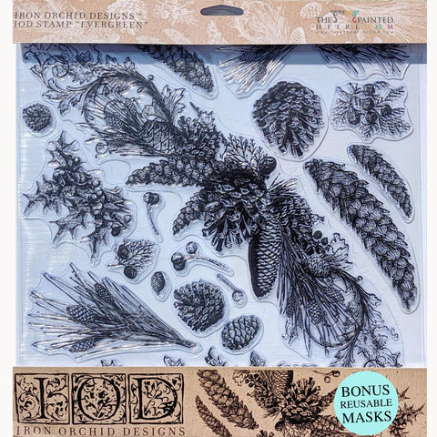 IOD Evergreen Decor Stamp with Reusable Masks by IOD - Iron Orchid Designs @ The Painted Heirloom