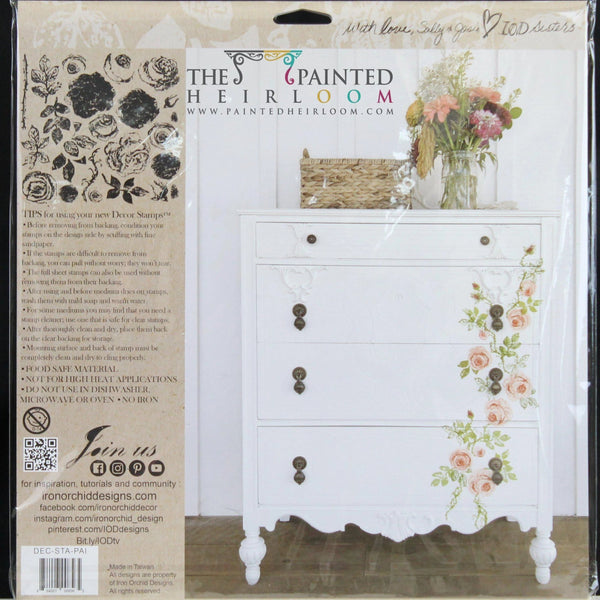 I.O.D. Painterly Roses Decor Stamp by Iron Orchid Designs @ The Painted Heirloom
