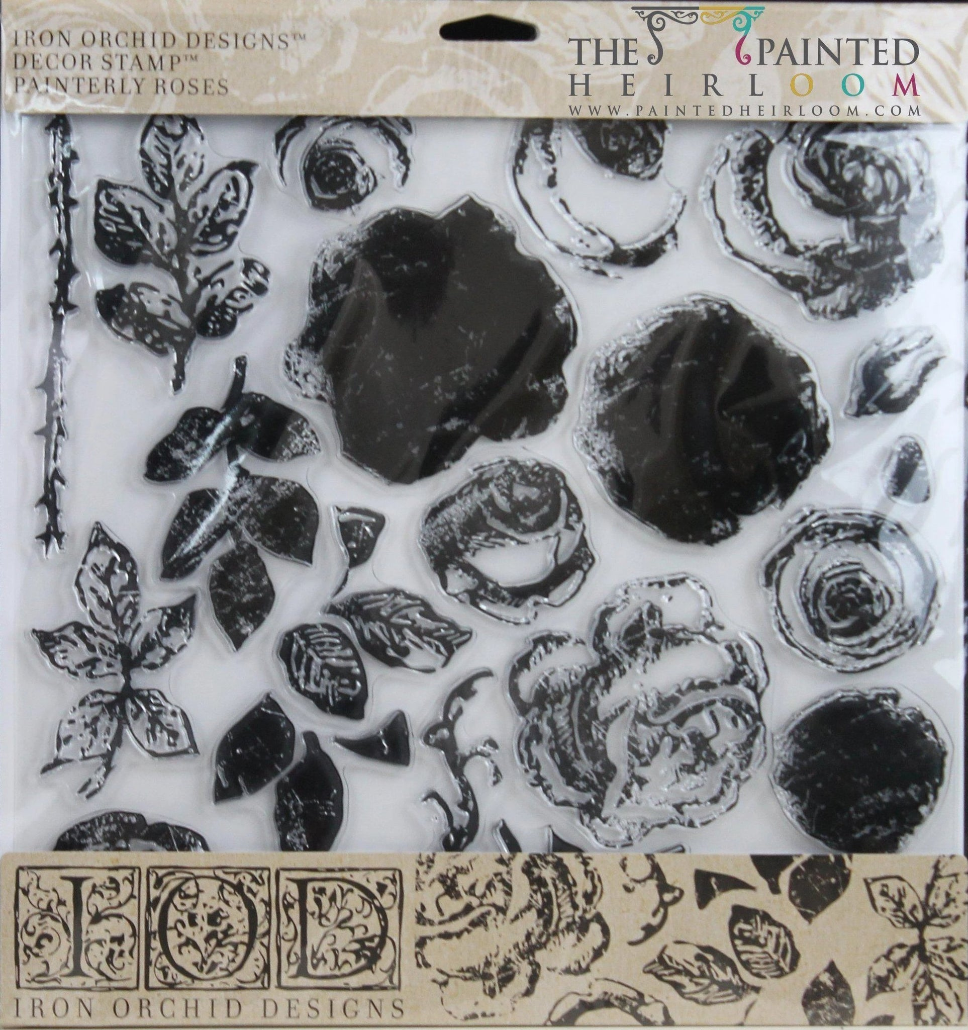 IOD Painterly Roses Decor Stamp by Iron Orchid Designs @ The Painted Heirloom
