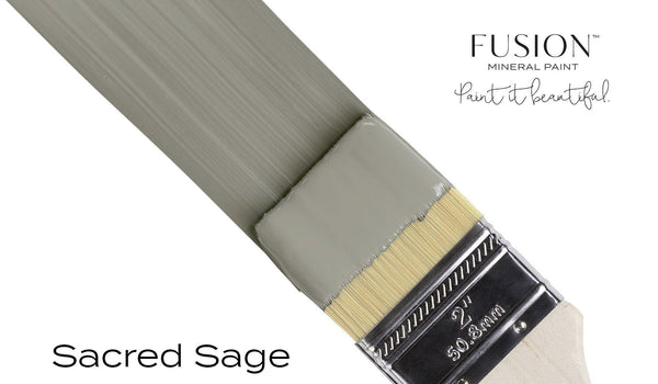 Sacred Sage Fusion Mineral Paint angled brush stroke @ The Painted Heirloom