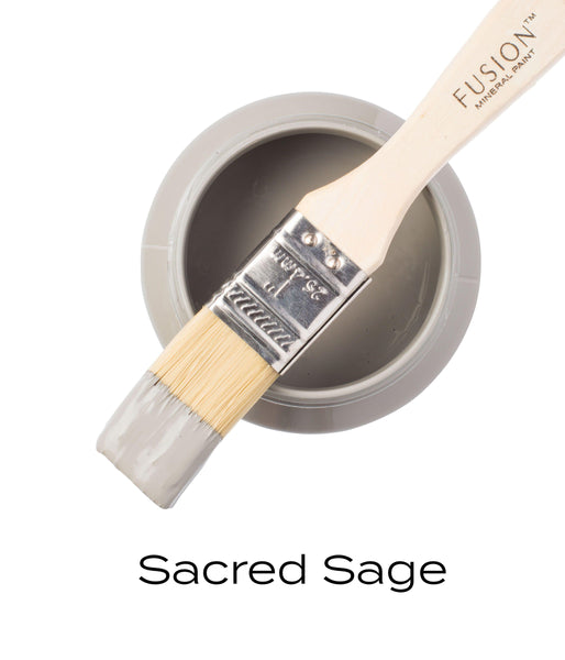 Sacred Sage Fusion Mineral Paint Pint with brush @ The Painted Heirloom