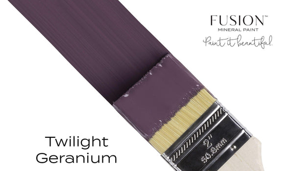 Twilight Geranium Fusion Mineral Paint angled brush stroke @ The Painted Heirloom