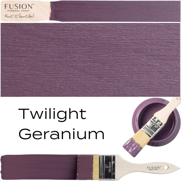 Twilight Geranium Fusion Mineral Paint Color Swatch Example Stick Block Brush Stroke Sample Set @ The Painted Heirloom