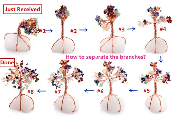 Jovivi steps of how to separate the branches, home reiki gemstone figurine, asd020802