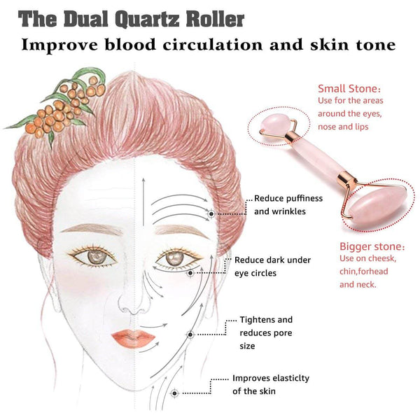 Jovivi facial roller Rose Quartz Jade Roller Gua Sha Scraping Massage Tools Set gua sha board
