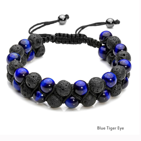 jovivi blue tiger eyes gemstone bracelet for men
