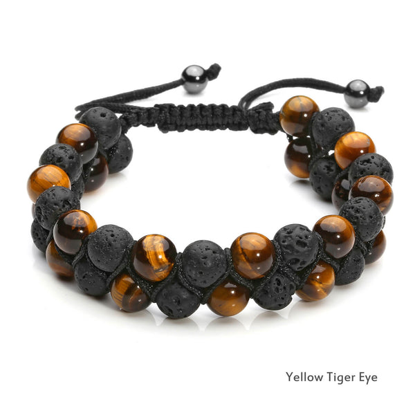 jovivi yellow tiger eye lava rock bracelet double layer