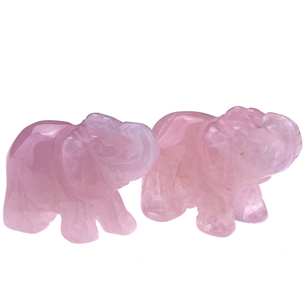 jovivi natural rose quartz elephant figurine 2pcs, asd00040