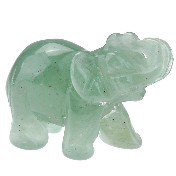 Jovivi 2pc Natural Carved Gemstone Elephant Figurine 1.5''