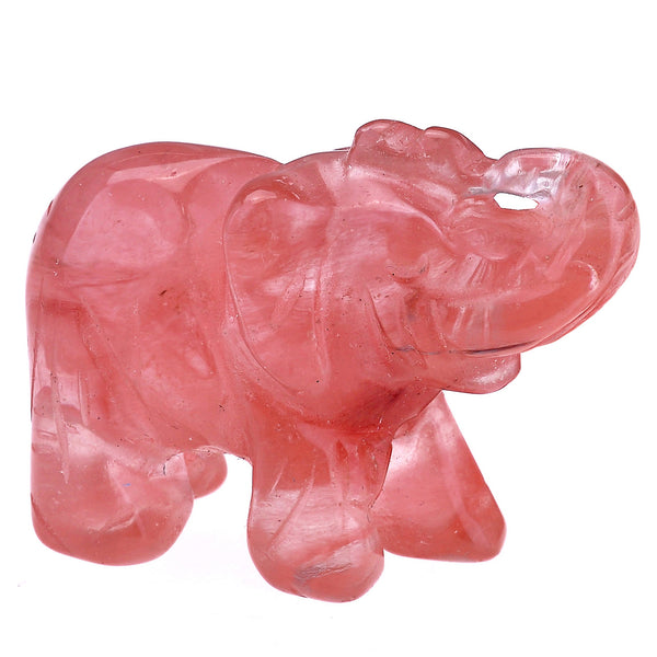 2pc Natural Carved Gemstone Elephant Figurine 1.5'' | Jovivi