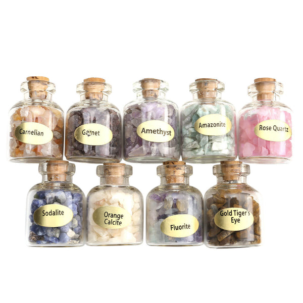Jovivi Mini Gemstone Bottles Chip Crystal Healing Reiki Stones Set