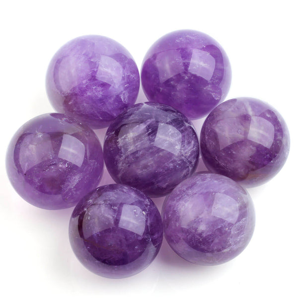 Jovivi 35mm Natural Amethyst Healing Crystal Gemstone Ball Chakra Aura Home Desk Decor, asd003301