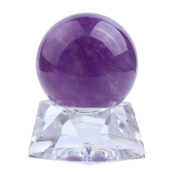 Jovivi 35mm Natural Amethyst Healing Crystal Gemstone Ball Divination Sphere Sculpture Figurine with Acrylic Stand Feng Shui Chakra Aura Home Desk Decor, front side, asd003301