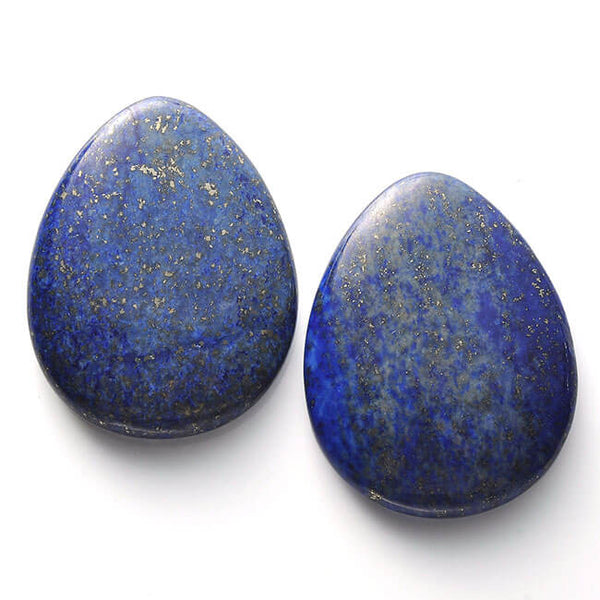 Thumb Worry Stone Water Drop Natural Dyed Lapis Lazuli Chakra Reiki Healing Crystals jovivi Tumbled Palm Stone