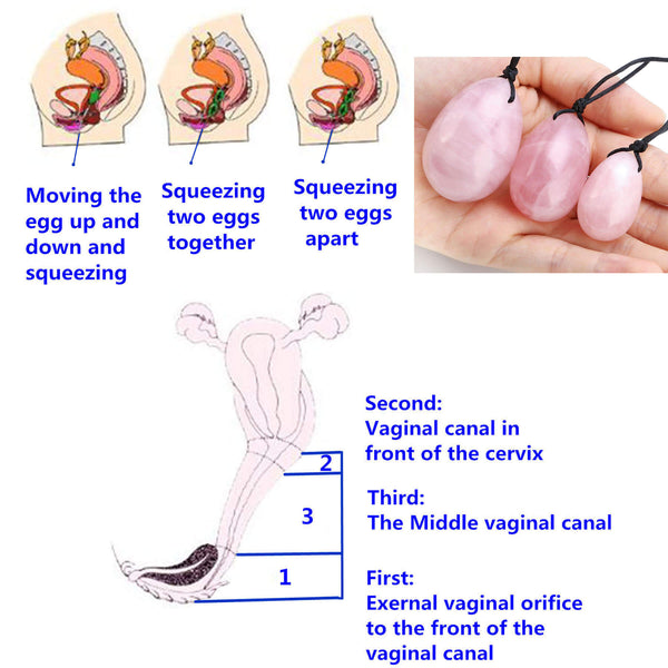 Yoni Eggs Rose Quartz Kegel Eggs Massage Stone for Women to Strengthen Pelvic Floor Muscles-how to use yoni egg