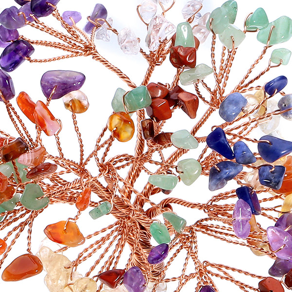 Jovivi 7 Chakra Tumbled Stones rose gold copper wires wrapped branches, asd020801