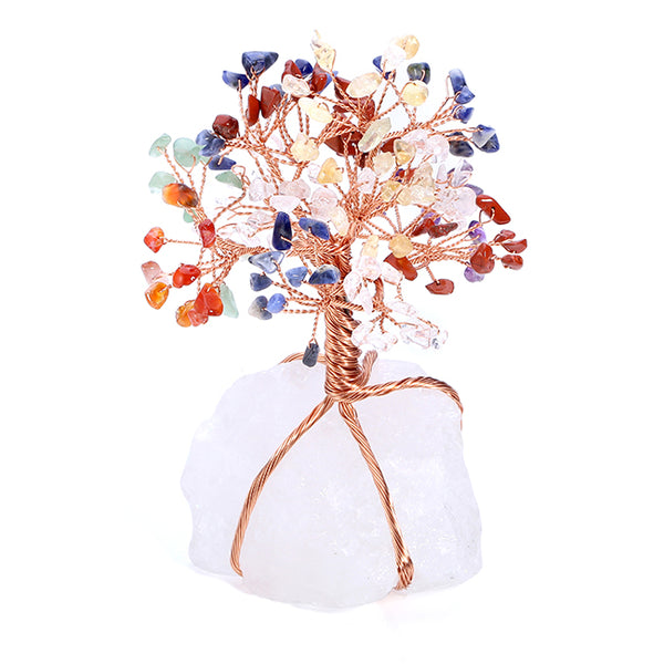 Jovivi 7 Chakra Tumbled Stones Money Tree Ornament with clear quartz stand, front side, asd020801