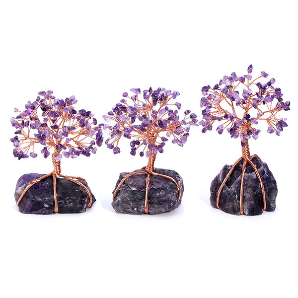 Jovivi Natural Amethyst Tumbled Stones Money Tree home reiki ornament, front side, asd020802