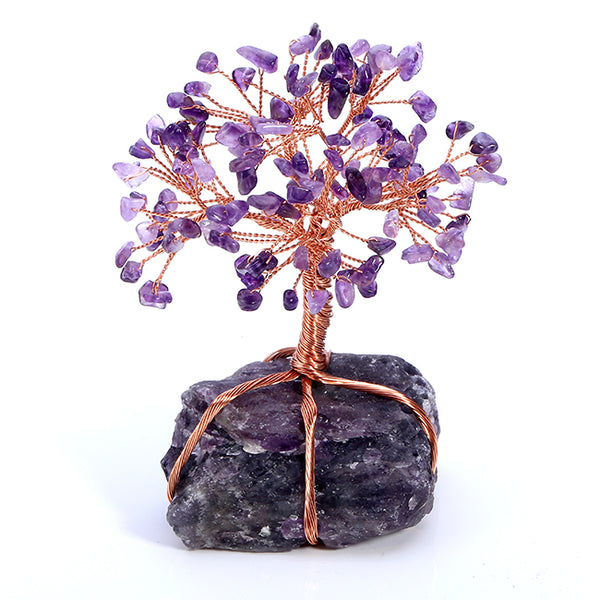 Jovivi Natural Amethyst Tumbled Stones Money Tree, front side, asd020802