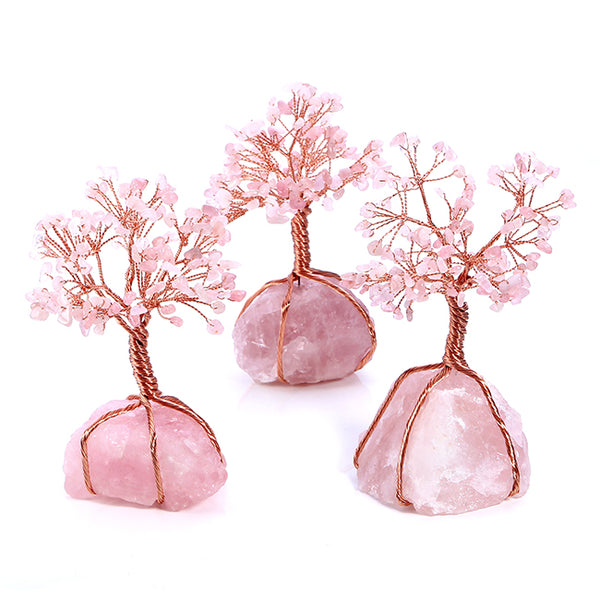 Natural Rose Quartz Tumbled Stones Money Tree-Gemstones-Jovivi-AJVV