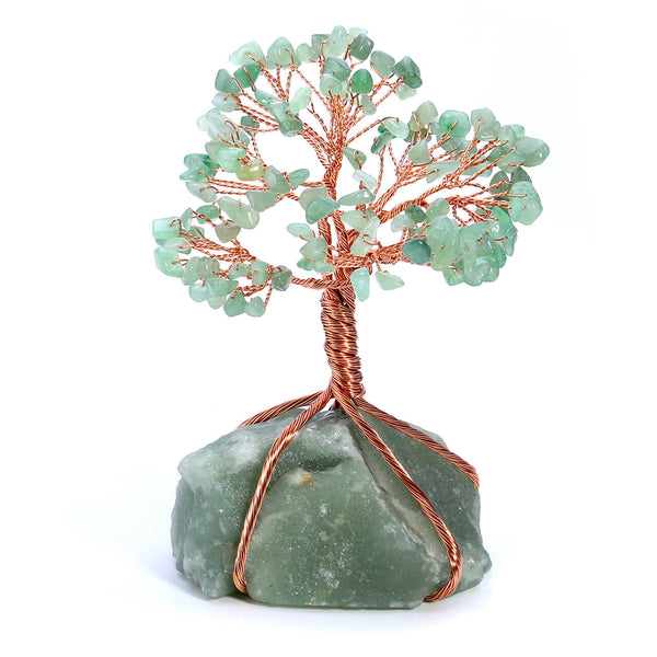 Jovivi Chakra Healing Crystals Copper Money Tree Wrapped On Natural Green Aventurine Base Feng Shui Luck Figurine