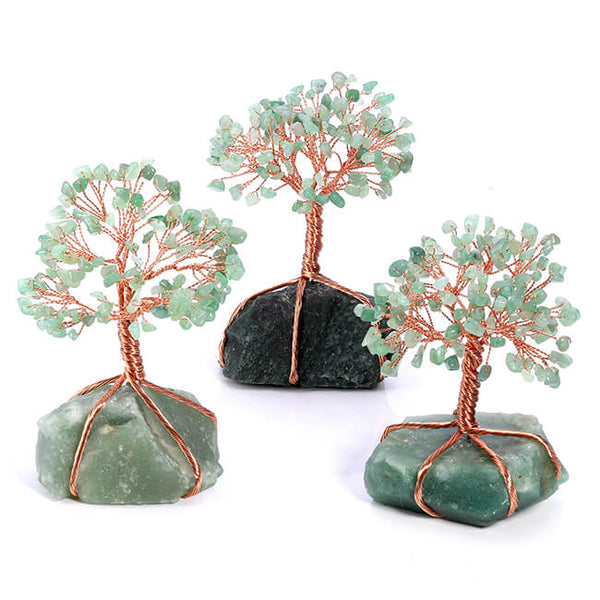 Jovivi Chakra Healing Crystals Copper Money Tree Wrapped On Natural Green Aventurine Base Feng Shui Luck Figurine color