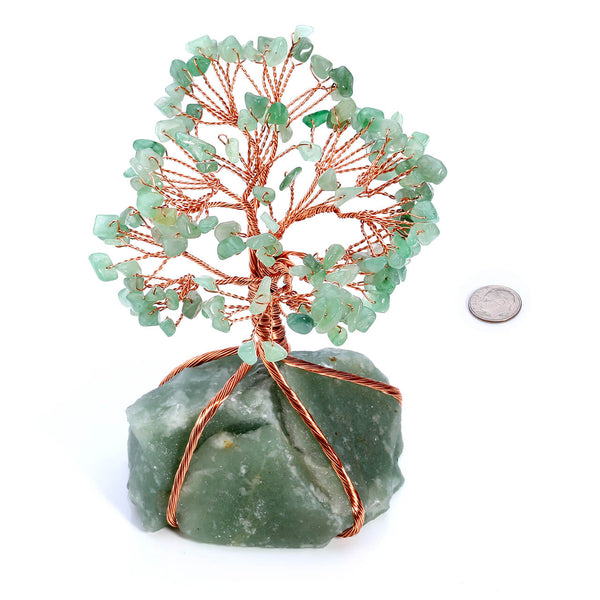 Jovivi Chakra Healing Crystals Copper Money Tree Wrapped On Natural Green Aventurine Base Feng Shui Luck Figurine size