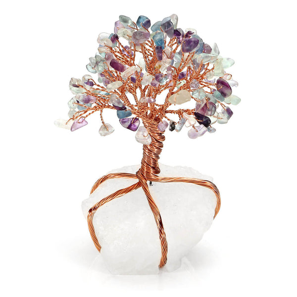 Jovivi Fluorite Crystals Copper Tree of Life Wrapped On Natural Clear Quartz Base Money Tree Feng Shui Figurine, front side, asd020806