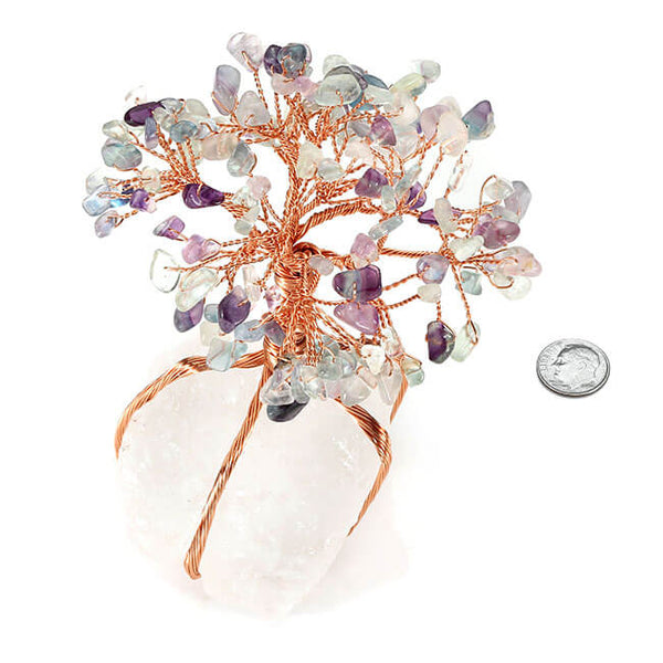 jovivi Chakra Healing Fluorite Crystals Copper Tree of Life Wrapped On Natural Clear Quartz Crystal Base Money Tree Feng Shui Luck Figurine Decoration size