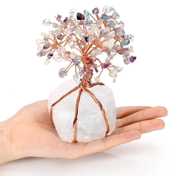 jovivi Chakra Healing Fluorite Crystals Copper Tree of Life Wrapped On Natural Clear Quartz Crystal Base Money Tree Feng Shui Luck Figurine Decoration