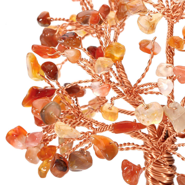 Jovivi Natural Red Agate Tree Crystal Quartz Feng Shui Tree of Life Ornament Reiki Crystals