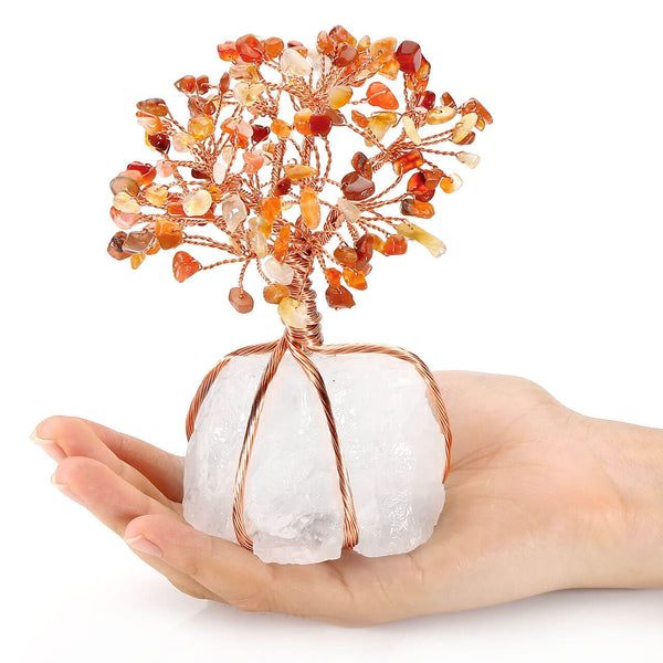 Jovivi Natural Red Agate Crystal Quartz Money Tree Feng Shui Tree of Life Ornament Reiki Office Decoration Wealth and Luck