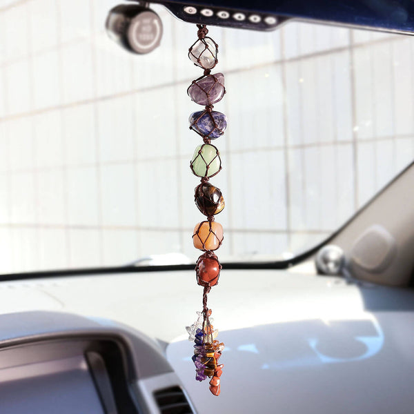 jovivi natural 7 chakras healing gemstones car hanger ornament, asd032201