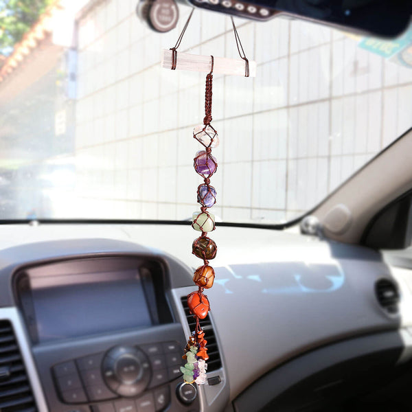 jovivi 7 chakras reiki energy gemstones car hanging ornament, asd032301