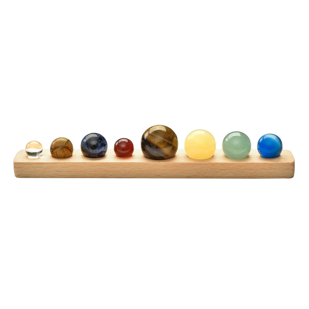 Jovivi Solar System 8 Planets Crystal Sphere Ball Collective Figurines Natural Gemstone Wooden Stand Home Desk Decorations