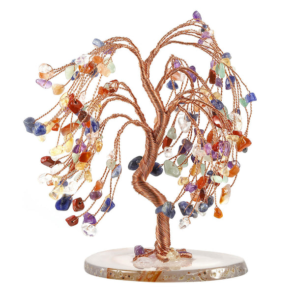 Jovivi 7 chakras healing crystal chip stone money tree for reiki home decor