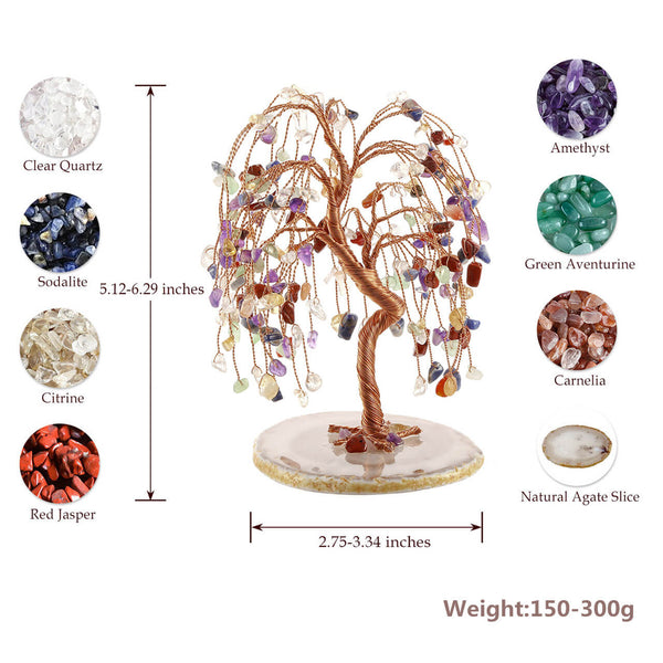 jovivi natural healing crystal money tree agate slice base, feng shui figurine, 5.89