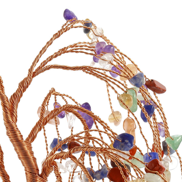 7 chakra chip stones cooper wires wrapped crystal tree, asd003620